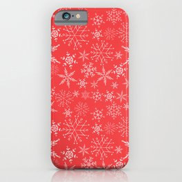 red and white snowflakes iPhone Case
