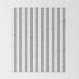 Grey and White Vertical Stripes Throw Blanket