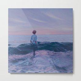 Her Steady Horizon - Surf Metal Print