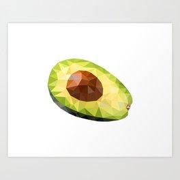 Low Polygon Avocado Art Print