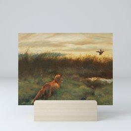 fox runing for bird Mini Art Print