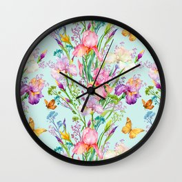 Pink & Lilac Iris Floral Pattern With Butterflies Wall Clock