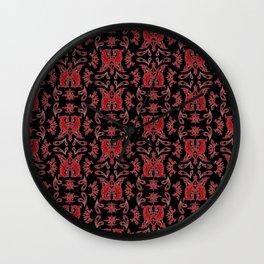 Red & Black Slavic Patterns Wall Clock