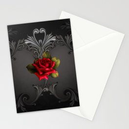 Gothic Glamour Red Rose Black Ornamental Glam Stationery Cards