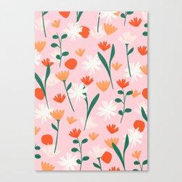 Summertime Floral Pattern Canvas Print