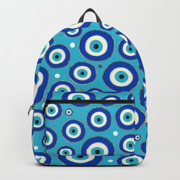 Greek Evil Eye pattern with golden accents Backpack