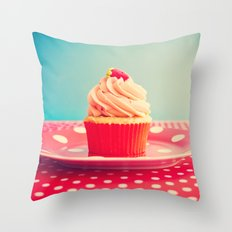 Strawberry Cupcake Throw Pillow