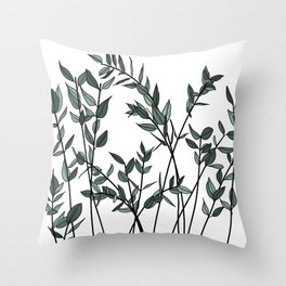 Natural botanical branches and leaves Throw Pillow