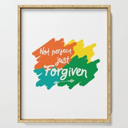 Makes a great gift for everyone feels good to wear this Forgiven tee design you are blessed & gifted Serving Tray