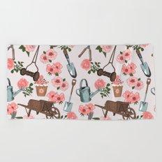 Vintage gardening pattern Beach Towel