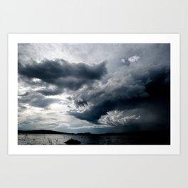Dramatic Sky - Rain Clouds Dark Gray Blue Monochrome #decor #society6 #buyart Art Print