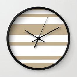 Mixed Horizontal Stripes - White and Khaki Brown Wall Clock