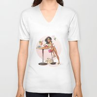 pinup V-neck T-shirts featuring Pinup by biboun