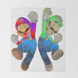 Pop Art Mario and Luigi Throw Blanket