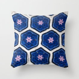 African Flower Crochet Art Throw Pillow