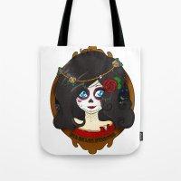 dia de los muertos Tote Bags featuring Dia de Los Muertos by Lilolilosa