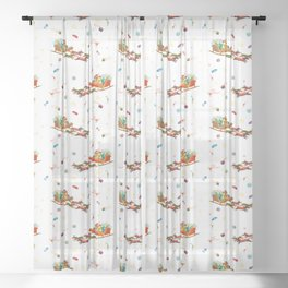 Dachshund open sleigh Sheer Curtain