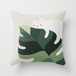 Cat and Plant 12A Throw Pillow