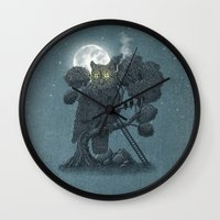 yetiland Wall Clocks featuring Nightwatch by Terry Fan