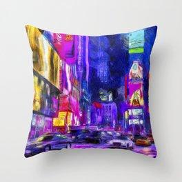Times Square Van Gogh Throw Pillow
