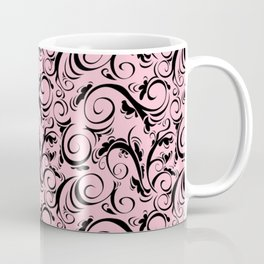 Pink & Black Flourish Pattern Coffee Mug