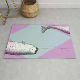 Narwhal Geometric Bright and Colorful Rug