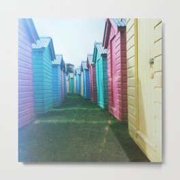 Beach Huts 02C - Retro Metal Print