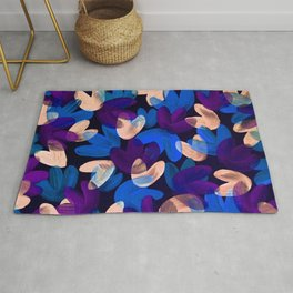 Vibrant Acrylic Painting Layered Tulips Floral Pattern Multi Colors Purple Blue Beige Rug