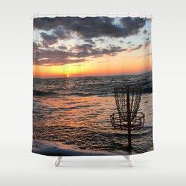 Disc Golf Basket Beach Ocean Innova Discraft Sunset Waves Virginia Vibram Shower Curtain