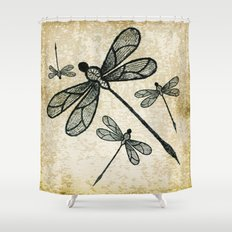 Dragonflies on tan texture Shower Curtain