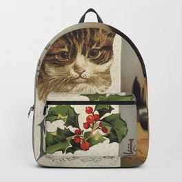 Merry Catmas vintage cat xmas illustration Backpack