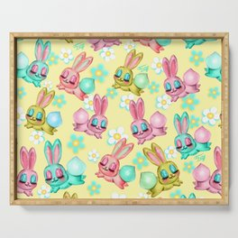 Bunnies and Daisies on Yellow Serving Tray