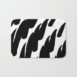 Black Abstract Brush Marks Bath Mat