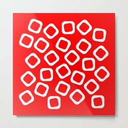 Red and White Abstraction Metal Print