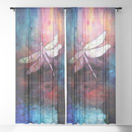 Sunset Dragonfly Sheer Curtain