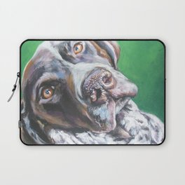 GSP German Shorthaired Pointer dog portrait art from an original painting by L.A.Shepard Laptop Sleeve