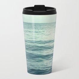 Seascape Photography, Teal Ocean Art, Dark Turquoise Minimal Sea Photo, Blue Ocean Coastal Print Travel Mug