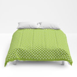 Tiny Paw Prints Pattern - Bright Green & White Comforters