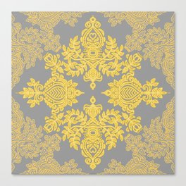 Golden Folk - doodle pattern in yellow & grey Canvas Print