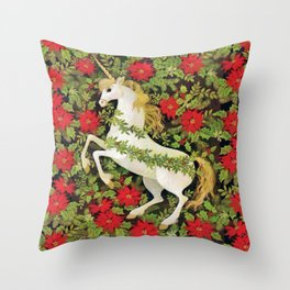Christmas Unicorn Throw Pillow