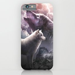 Lightning Wolf Howling At The Moon iPhone Case