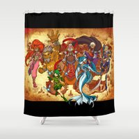 hyrule Shower Curtains featuring Seven Sages of Hyrule by Jeffrey Carrion