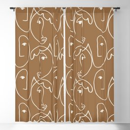 Abstract Faces Line Art Pattern Blackout Curtain