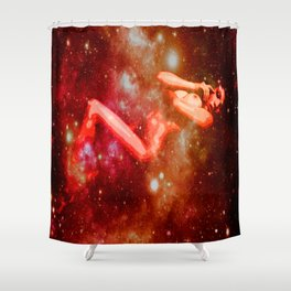 Red Galaxy Woman : Nude Art Shower Curtain