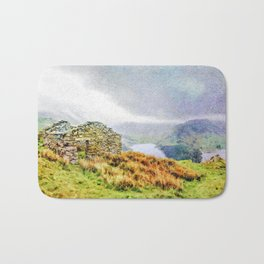 Old Stone ruins and black sky above Haweswater, Lake District. Cumbria, Uk, Watercolor Art Bath Mat