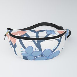 Pink and blue flowers Fanny Pack