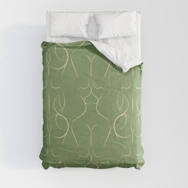 Female Form repeat pattern in light green Comforters