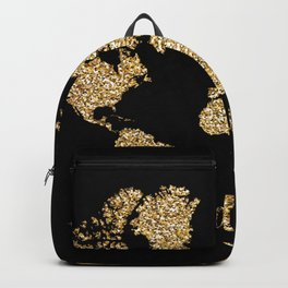 world map gold black wanderlust Backpack