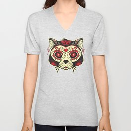 Day of the Dead Cat Unisex V-Neck