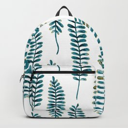 Watercolour Fern Pattern | Teal and Gold Backpack